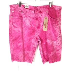 Levis 511 Pink Bleach Splash Cut Off Denim Shorts